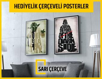 Sarı Çerçeve - Hediyelik Çerçeveli Posterler